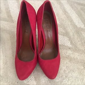 Schutz Red Suede Pumps Size 7B